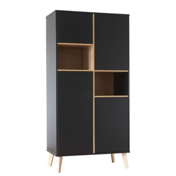 Pericles Style Black Wardrobe 4 doors