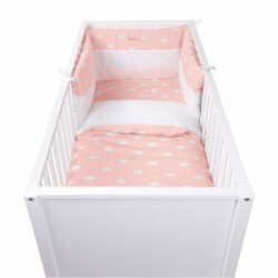 Childhome Snoozy clouds pink duvet cover for bed