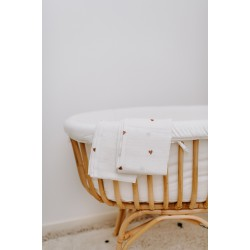 Childhome - Tetra Cloths - Cotton - Off White + Hearts - 4 Pcs
